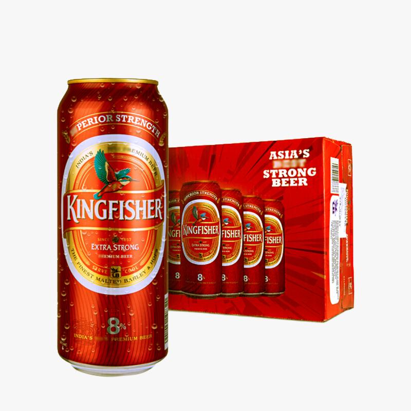 翠鸟KINGFISHER印度进口啤酒高度数原装整箱装500mL*24听