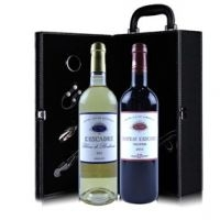 [AOC]爱思卡特酒庄干红+甜白葡萄酒(皮质包装礼盒)